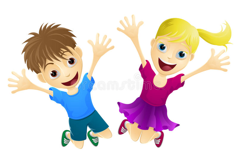 Happy children jumping in the air royalty free illustration