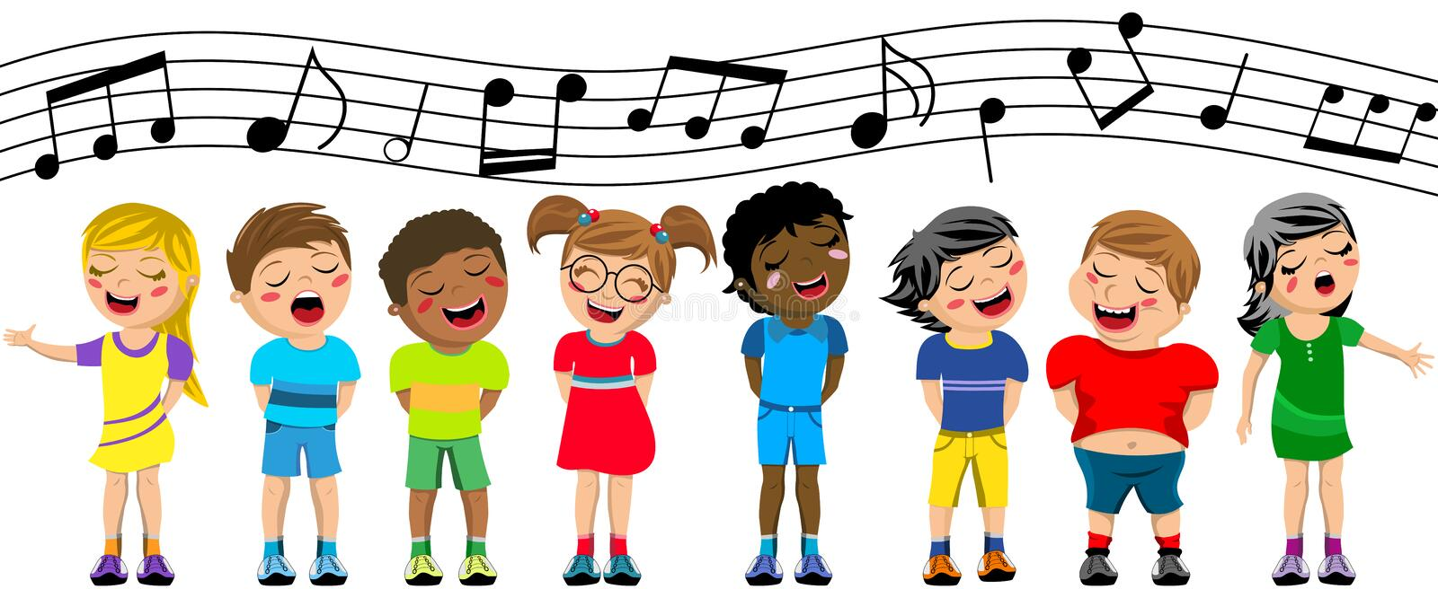 happy children kid singing chorus isolated stock vector rh dreamstime com
