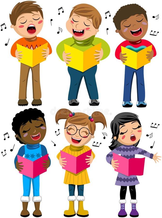 Happy Children Kid Singing Winter Choir Book Isolated vector illustration