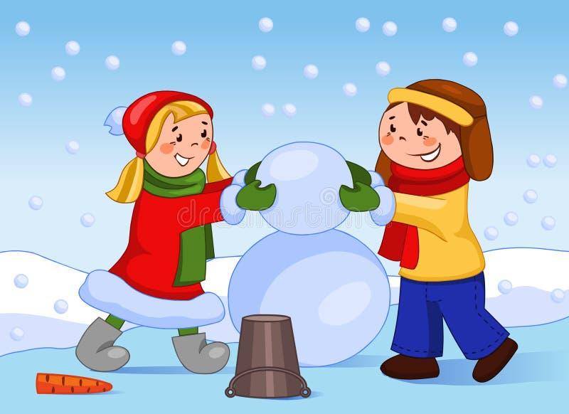 Happy children make a snowman. stock illustration