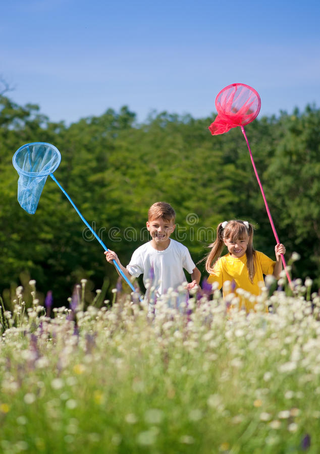 Happy Children On Meadow Royalty Free Stock Photo