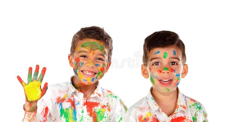 Happy children painting stock photo