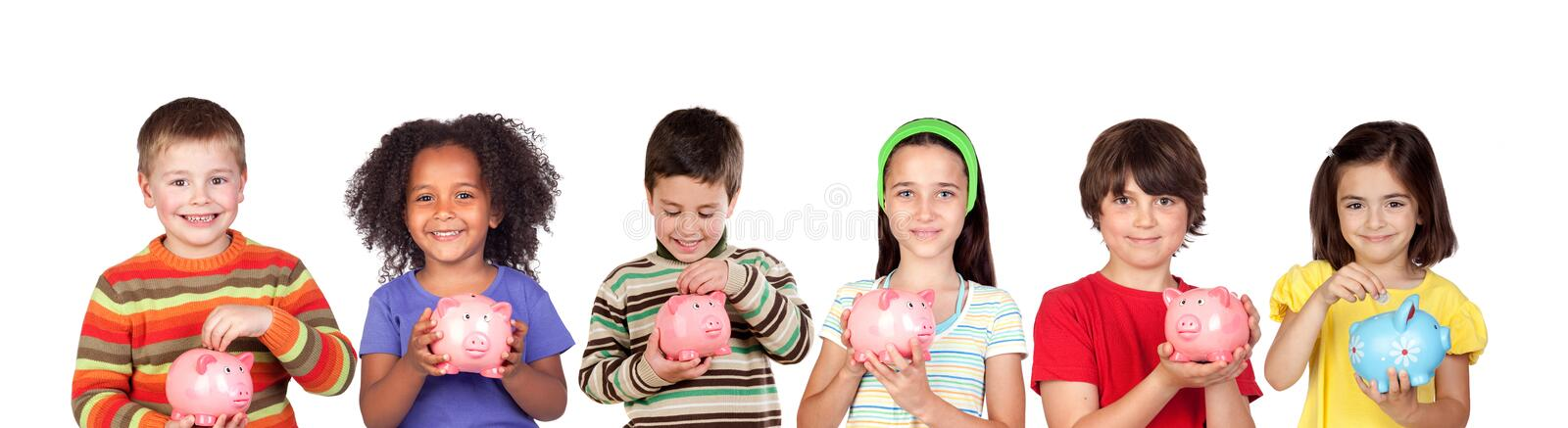Happy children with piggy-banks royalty free stock photography