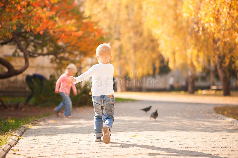 Happy children play in the park closeup. Boy and girl run and have fun in the autumn in the sun and copy space. Happy childhood mo royalty free stock photo