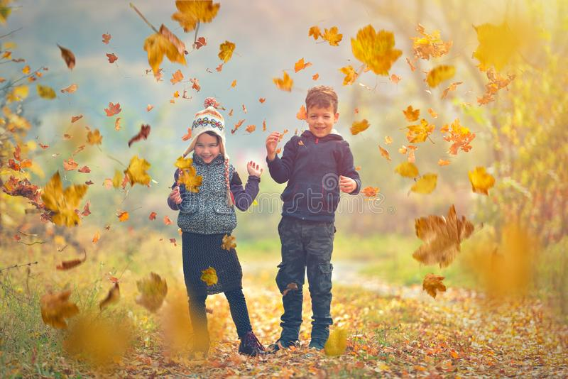 Happy children playing with autumn fallen leaves in park.  stock photo