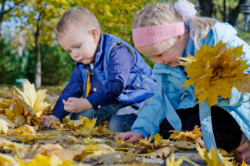 Download Happy Children Playing In Autumn Leaves Stock Image - Image: 27420775
