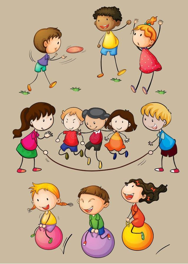 Happy children playing games. Illustration vector illustration