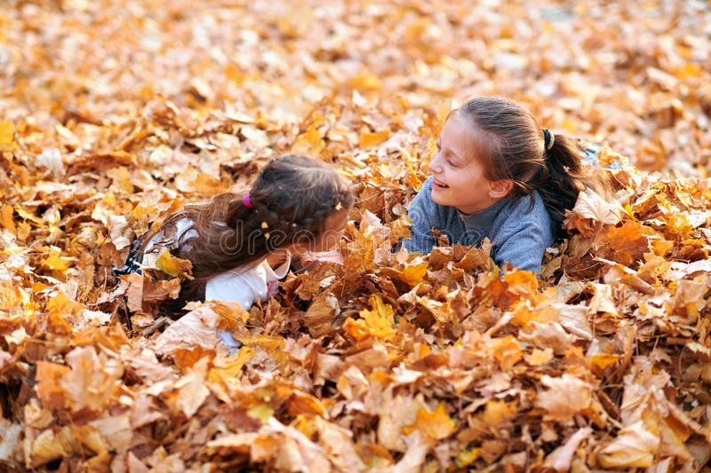 Happy children playing in heap of yellow leaves, posing, smiling and having fun in autumn city park. Bright yellow trees and stock photo