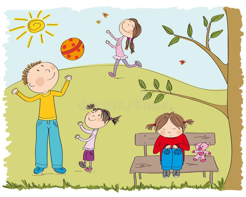 Happy children playing outside in the park, one girl is sad royalty free illustration