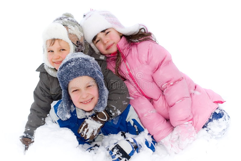 Happy Children Playing in Snow stock image