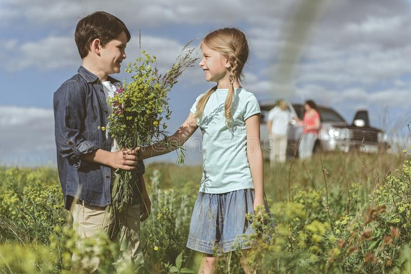 Happy children playing together on meadow royalty free stock photos