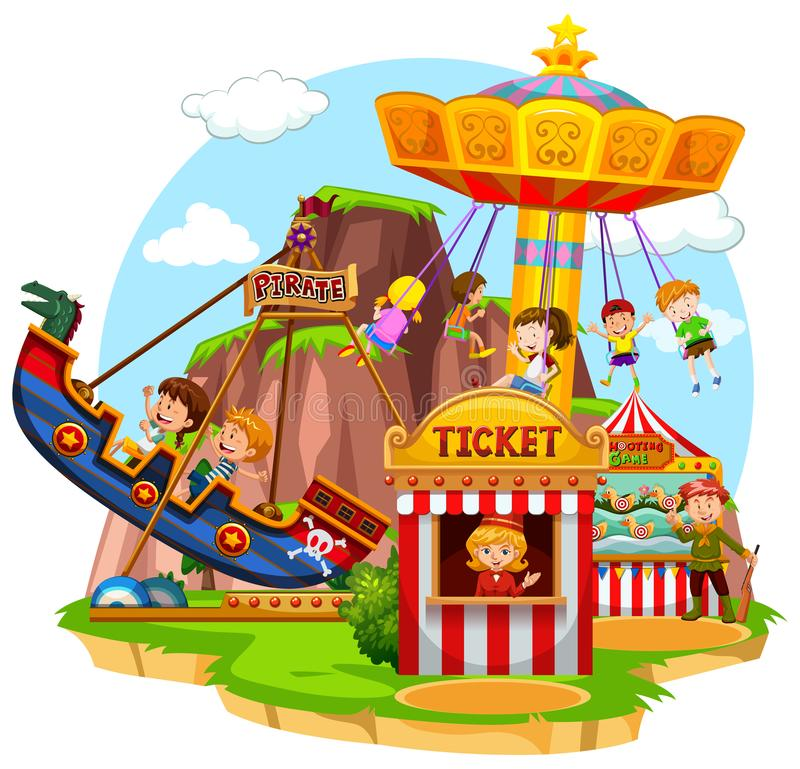 Happy children riding in funpark royalty free illustration