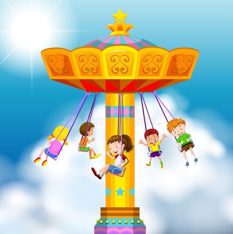Happy children riding on giant swing vector illustration