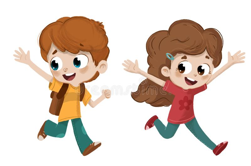 Happy children running royalty free illustration