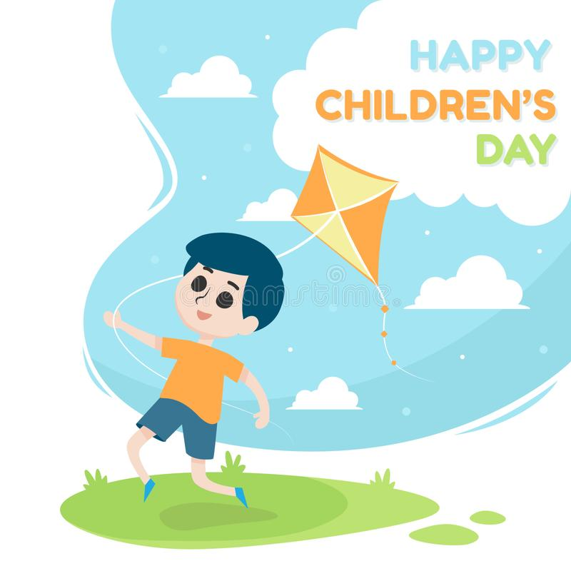 Free Happy Children`s Day Illustration With A Boy Playing Kite Vector Royalty Free Stock Photography - 165352777