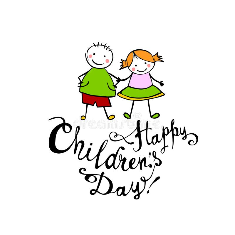Happy Children`s day. June 1 holiday card stock illustration