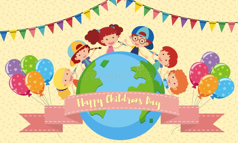 Happy Children`s day poster with kids and balloons vector illustration