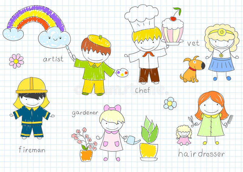 Happy children`s in work wear royalty free illustration