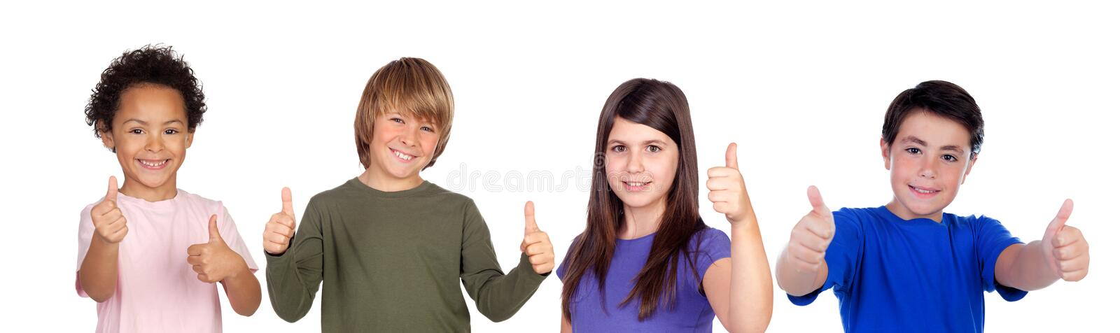 Happy children saying Ok with their thumbs royalty free stock photos