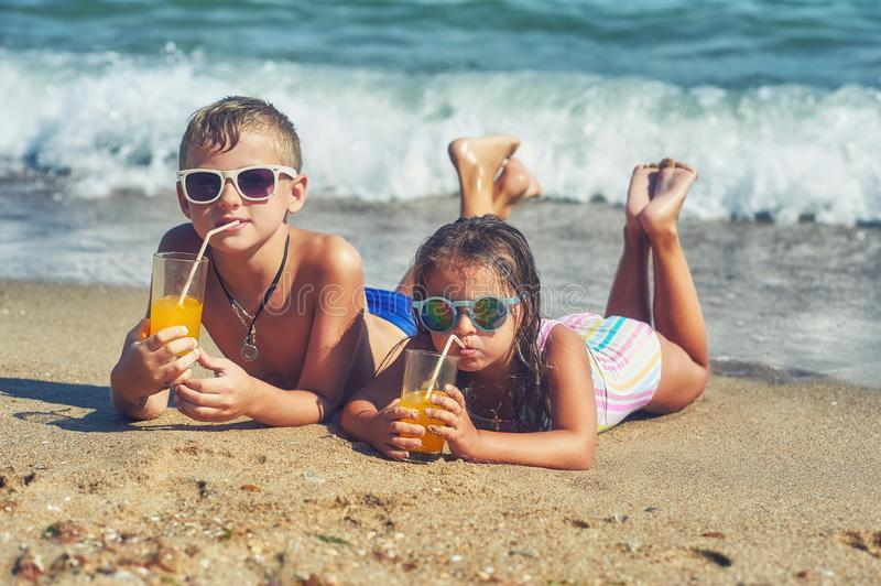 Children on vacation on the beach .Happy children rest in the open air stock images