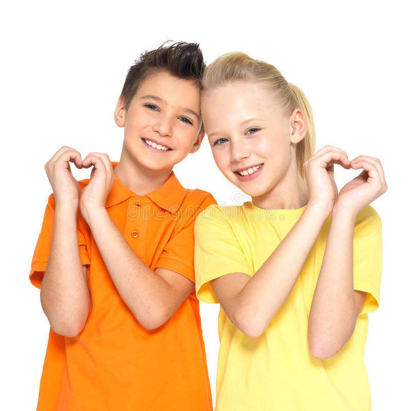 Download Happy Children With A Sign Of Heart Shape Stock Photo - Image: 29127846