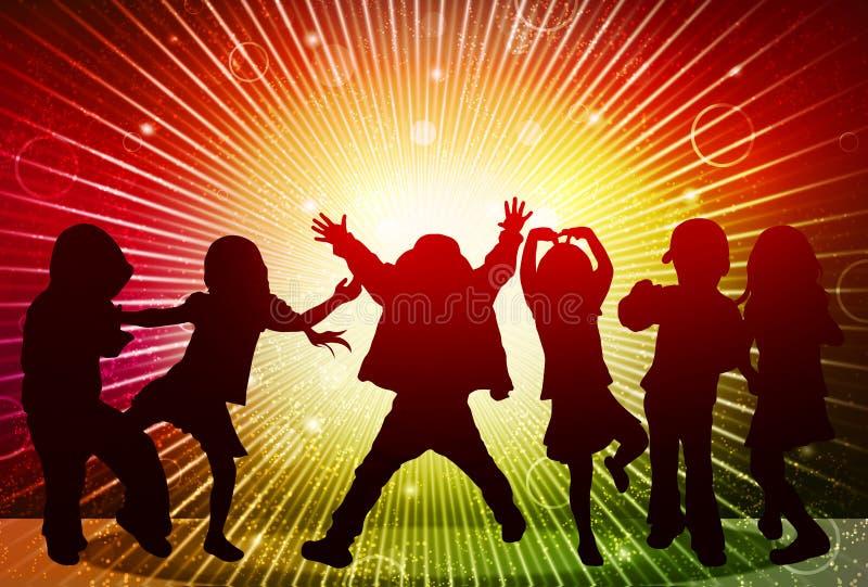 Happy children silhouettes vector illustration