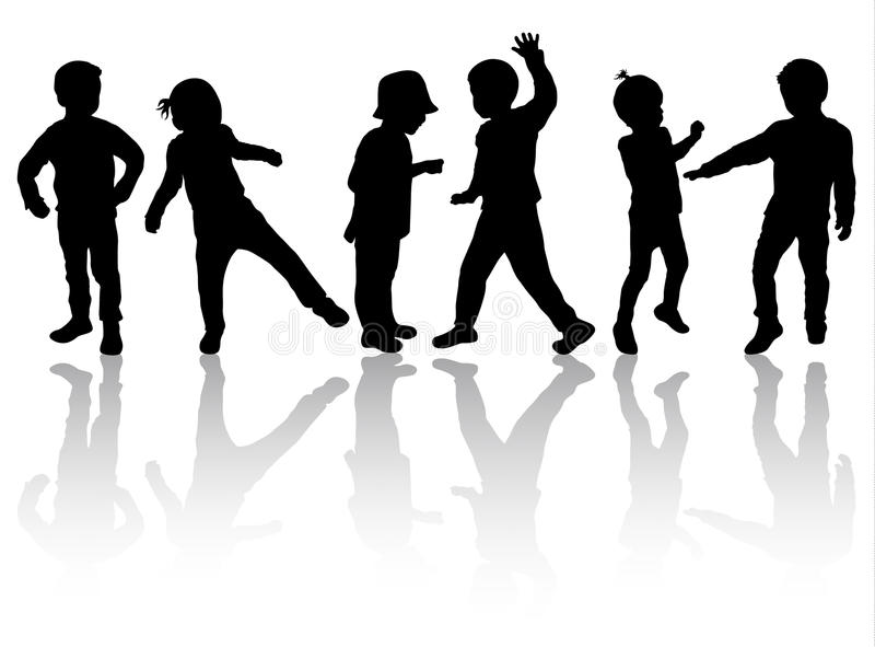 Happy Children Silhouettes Dancing Together Stock Vector ...
