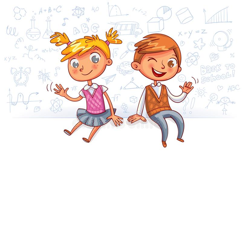 Happy children sit on a big blank poster and waving hands. Kids sit on a fence and waving hands. Happy children sit on a big blank poster. Template for stock illustration
