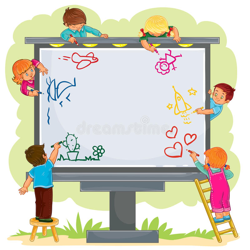 Happy children together draw on a large billboard royalty free illustration