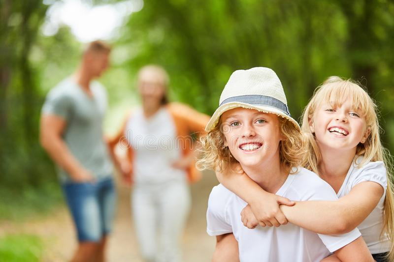 Happy children on a tour royalty free stock photo