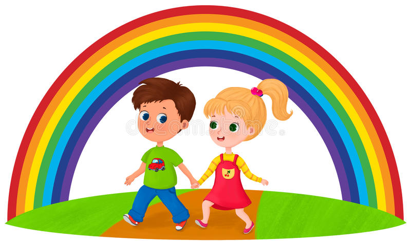 Happy children under the rainbow stock photography