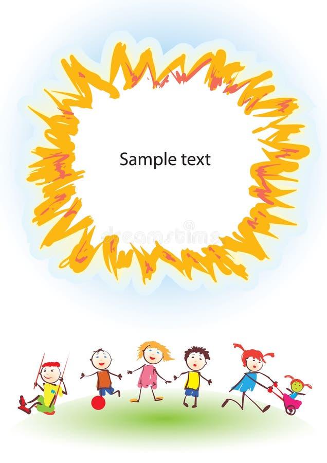 Happy children under sun stock illustration