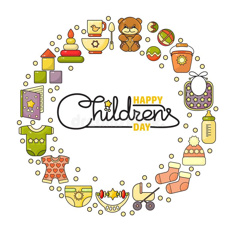 Happy Childrens Day. Cute toys, clothes and handwritten letter royalty free illustration