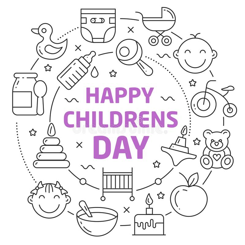 Happy childrens day Linear illustration stock illustration