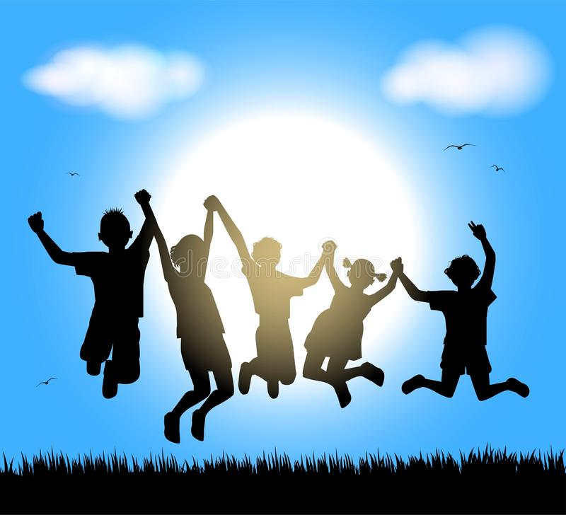 Happy childrens. Silhouette of happy childrens on sky background royalty free illustration
