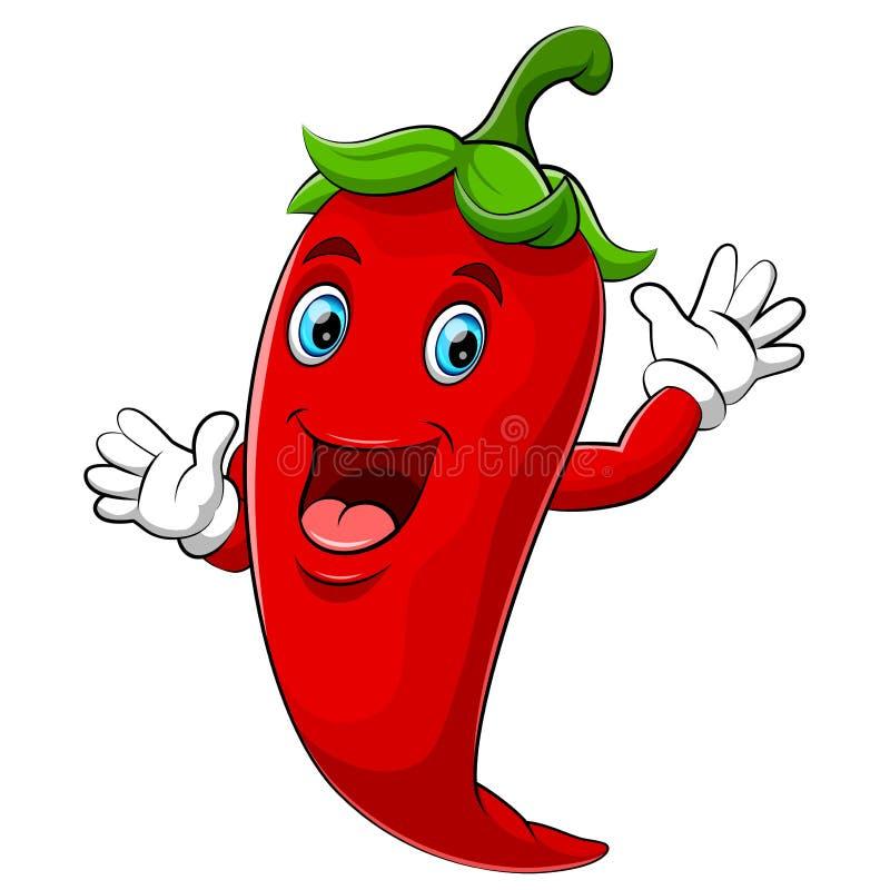 Happy chili cartoon character stock illustration