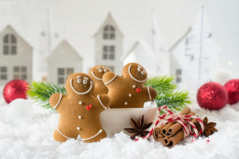 Happy chill out time,Group of smiling gingerbread men cookies celebrate Christmas and New Year Party. royalty free stock photo
