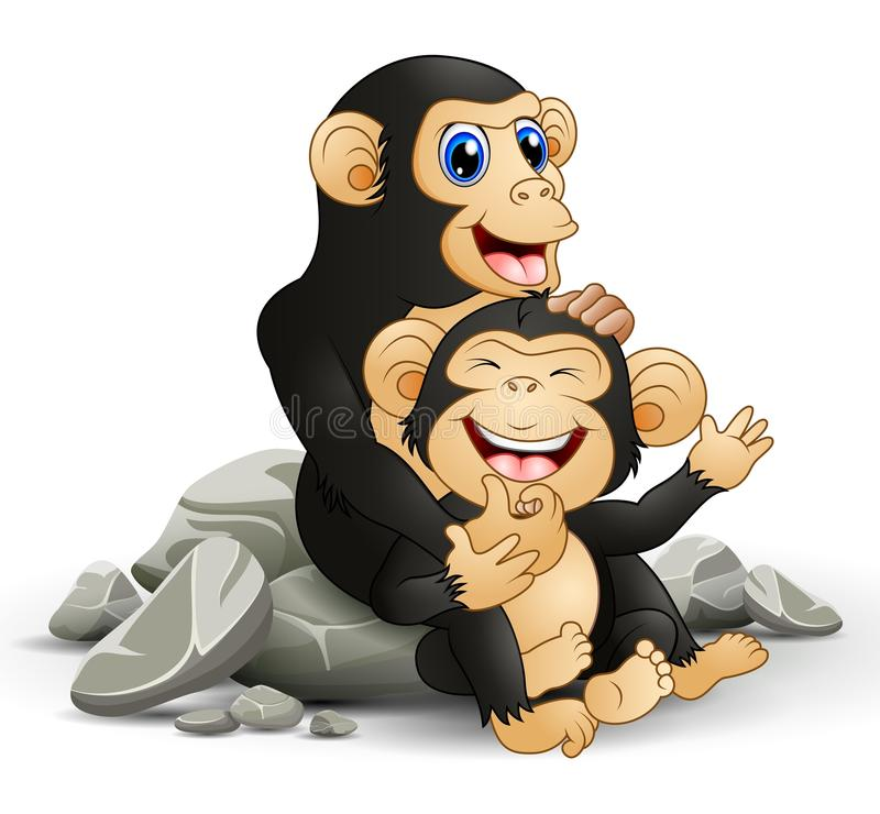 Happy chimpanzee mother hug her baby chimp stock illustration