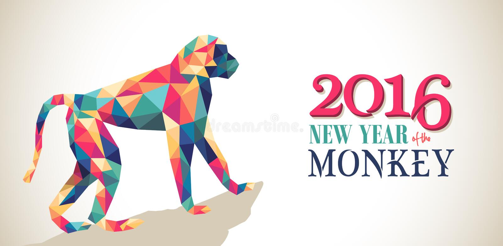 Happy china new year monkey 2016 triangle banner. 2016 Happy Chinese New Year of the Monkey banner with colorful hipster low poly triangle ape and text. EPS10