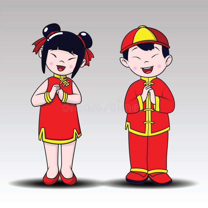 Happy Chinese , happy boy and girl standing , Cartoon Style royalty free stock photo