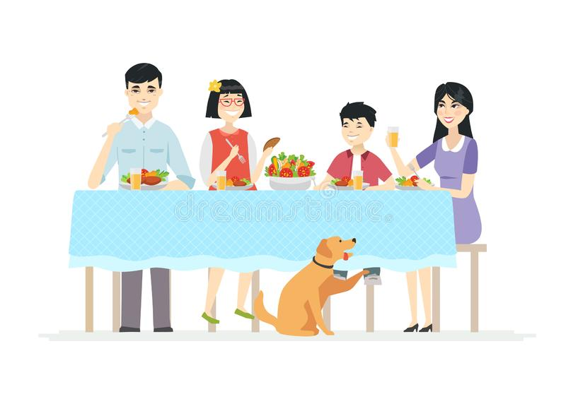 Happy Chinese family having dinner together - modern cartoon people characters illustration. On white background. Young parents with two children sitting at the stock illustration