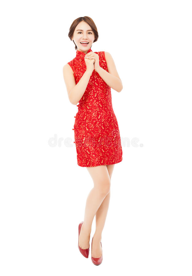Happy chinese new year. asian woman with congratulation gesture. Happy chinese new year.beautiful asian woman with congratulation gesture over white background stock photo
