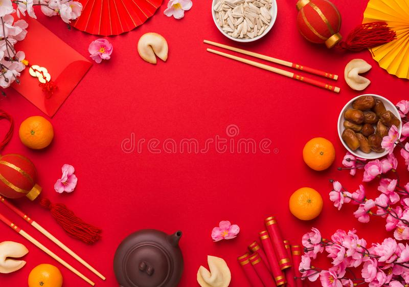 Happy Chinese new year background with traditional decorations stock photography