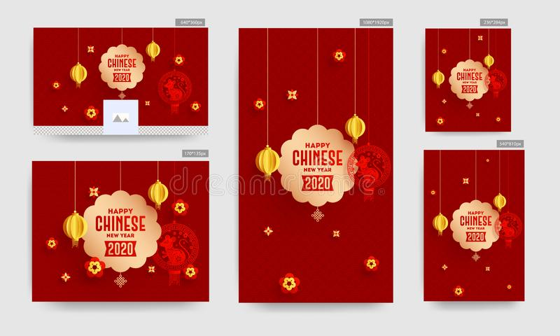 Happy Chinese New Year 2020 Banner or Poster and Template Design with hanging Rat Zodiac, Paper Cut Lanterns and Flowers Decorated stock images