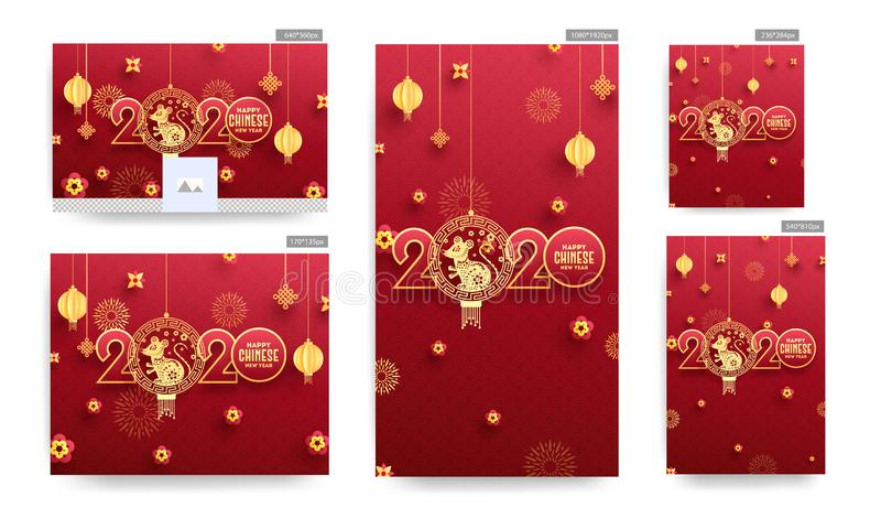 Happy Chinese New Year Banner or Poster and Template Design with Paper Cut 2020 Text with hanging Rat Zodiac Sign, Paper Cut vector illustration