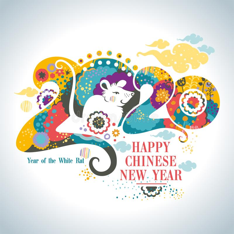 Happy Chinese New Year 2020. Beautiful illustration of the white Rat on a bright floral patterns and clouds background royalty free stock photo