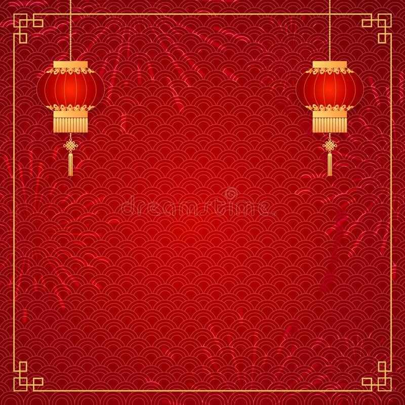 Happy Chinese new year card. Red background with traditional asian lanterns . Chinese mean Happy New Year, wealthy, Zodiac sign stock photos