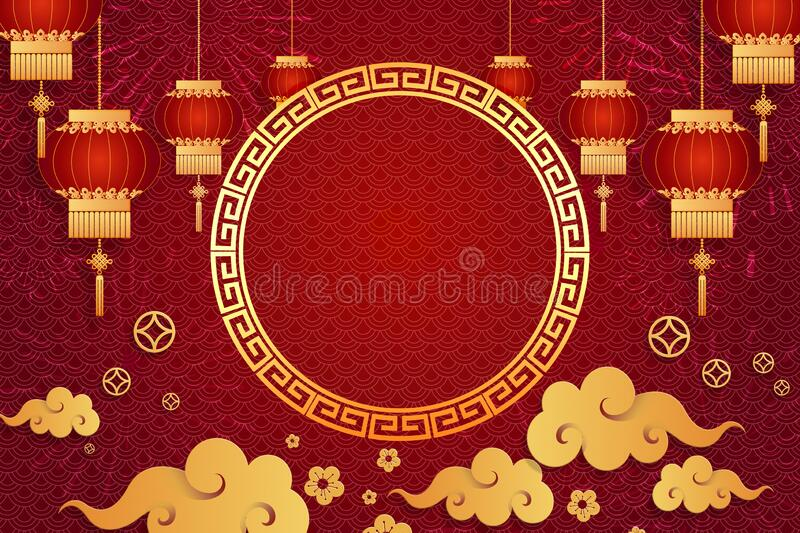 Happy Chinese new year card. Red background with traditional Asian lanterns . For greetings card, flyers, invitation, posters,. Brochure, banners, calendar stock images