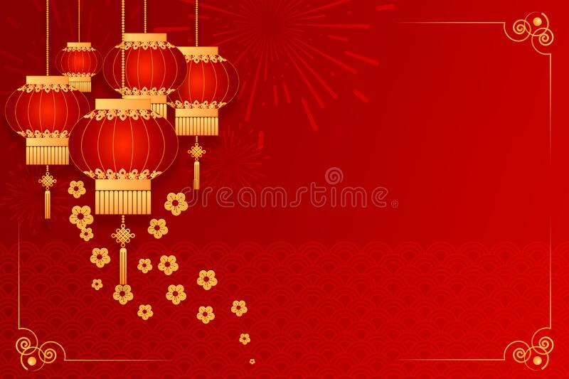 Happy Chinese new year card. Red background with traditional asian lanterns . Chinese mean Happy New Year, wealthy, Zodiac sign. For greetings card, flyers stock images