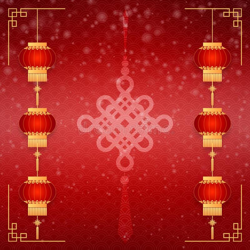 Happy Chinese new year card. Red background with traditional asian lanterns . Chinese mean Happy New Year, wealthy, Zodiac sign stock images
